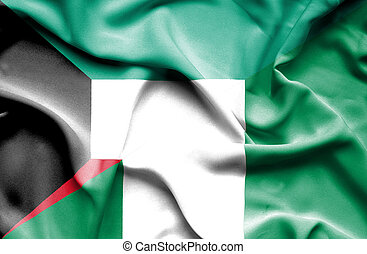 Waving flag of Nigeria and Kuwait