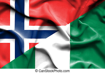 Waving flag of Nigeria and Norway