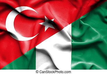 Waving flag of Nigeria and Turkey