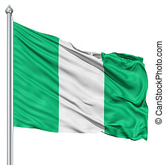 Waving flag of Nigeria - Flag of Nigeria with flagpole...