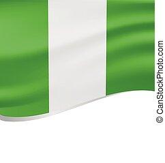 Waving flag of Nigeria isolated on white