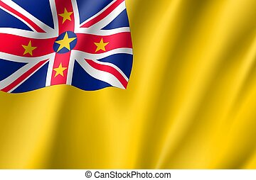 Waving flag of Niue