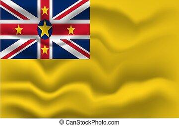 Waving flag of Niue. Vector illustration