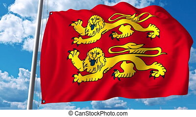 Waving flag of Normandy a region of France - Waving flag of...