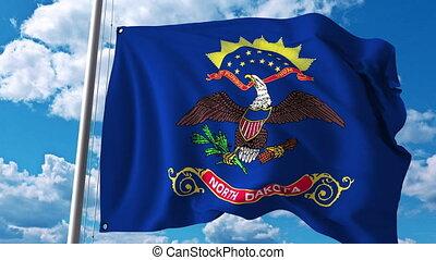 Waving flag of North Dakota. 4K clip - Waving flag of North...