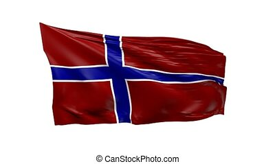 Waving flag of Norway, 3d animation
