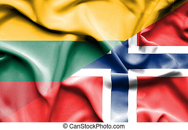Waving flag of Norway and Lithuania