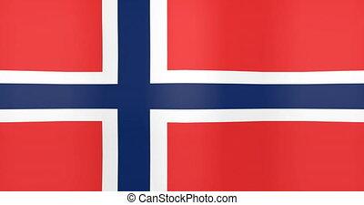 Waving Flag of Norway Looping Background
