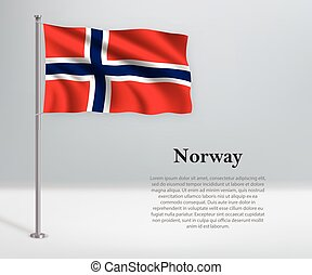 Waving flag of Norway on flagpole. Template for independence day