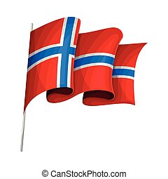 Waving Flag of Norway on Pole as Country Attribute Vector Illustration