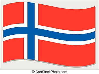 Waving flag of Norway vector graphic. Waving Norwegian flag illustration. Norway country flag wavin in the wind is a symbol of freedom and independence.