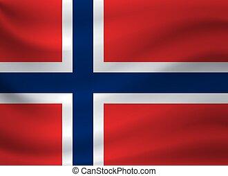 Waving flag of Norway. Vector illustration