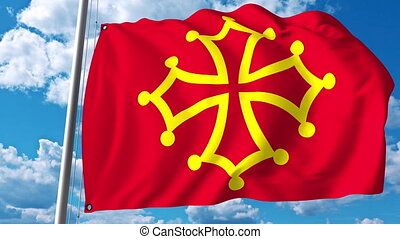 Waving flag of Occitanie a region of France - Waving flag of...