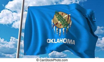 Waving flag of Oklahoma. 4K clip
