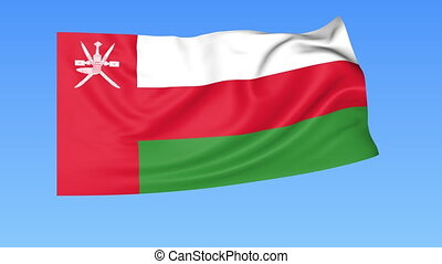 Waving flag of Oman, seamless loop. Exact size, blue background. Part of all countries set. 4K ProRes with alpha