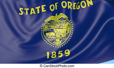 Waving flag of Oregon state against blue sky. Seamless loop