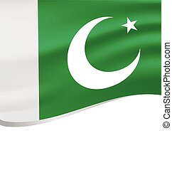 Waving flag of Pakistan isolated on white