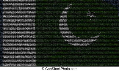 Waving flag of Pakistan made of text symbols on a computer screen. Conceptual loopable animation