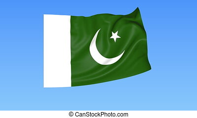 Waving flag of Pakistan, seamless loop. Exact size, blue background. Part of all countries set. 4K ProRes with alpha.