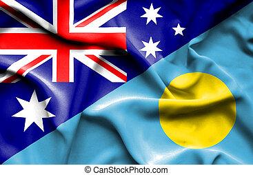 Waving flag of Palau and Australia