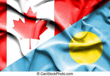 Waving flag of Palau and Canada