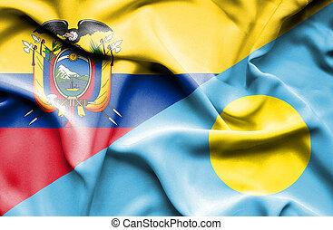 Waving flag of Palau and Ecuador