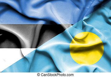 Waving flag of Palau and Estonia