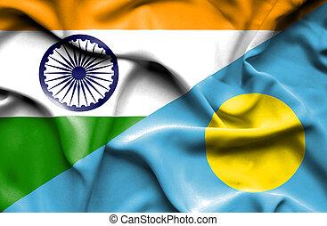 Waving flag of Palau and India
