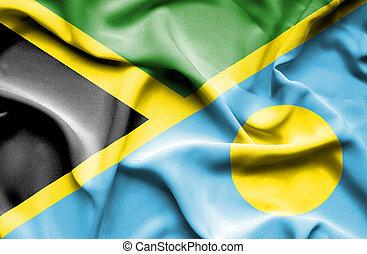 Waving flag of Palau and Jamaica