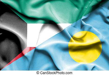 Waving flag of Palau and Kuwait