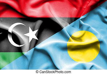 Waving flag of Palau and Libya