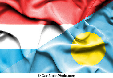 Waving flag of Palau and Luxembourg