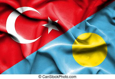 Waving flag of Palau and Turkey