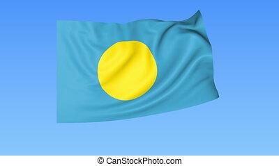 Waving flag of Palau, seamless loop. Exact size, blue...