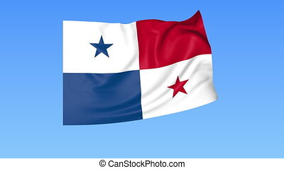 Waving flag of Panama, seamless loop. Exact size, blue background. Part of all countries set. 4K Pro Res with alpha.