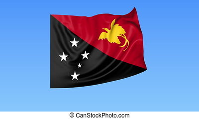 Waving flag of Papua New Guinea, seamless loop. Exact size, blue background. Part of all countries set. 4K ProRes, alpha