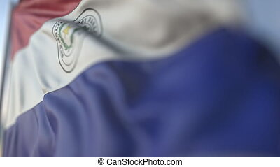 Waving flag of Paraguay, shallow focus close-up. Realistic loopable 3D animation