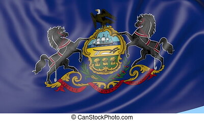 Waving flag of Pennsylvania state against blue sky.