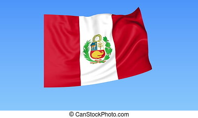 Waving flag of Peru, seamless loop. Exact size, blue background. Part of all countries set. 4K Pro Res with alpha.