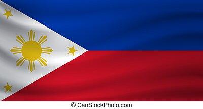 Waving flag of Philippines. Vector illustration