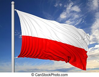 Waving flag of Poland on flagpole, on blue sky background.