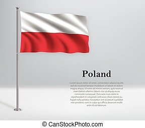 Waving flag of Poland on flagpole. Template for independence day
