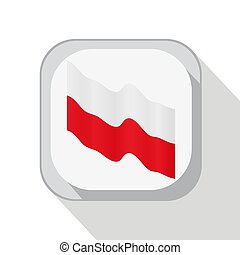 Waving flag of Poland on the button. Vector illustration.