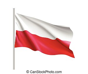 Waving flag of Poland state