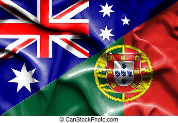 Waving flag of Portugal and Australia