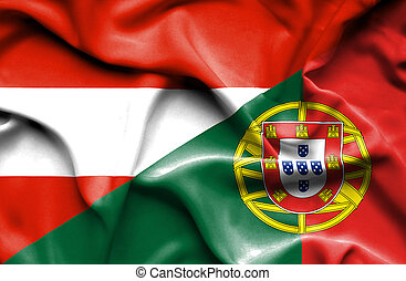 Waving flag of Portugal and Austria