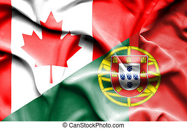 Waving flag of Portugal and Canada