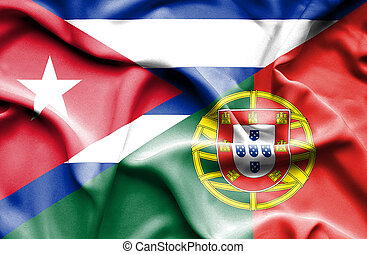 Waving flag of Portugal and Cuba