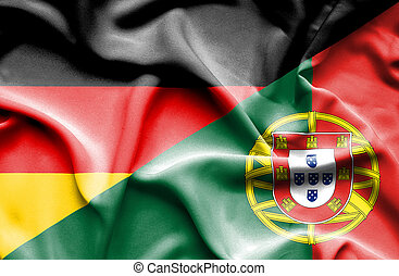 Waving flag of Portugal and Germany