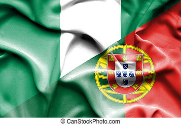 Waving flag of Portugal and Nigeria